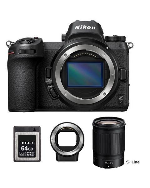 كاميرا نيكون Z7 بدون مرأة + محول  FTZ  + عدسة نيكون  85MM F/1.8S Z  + بطاقة ذاكره 64 جيجابايت (VOA010AM)