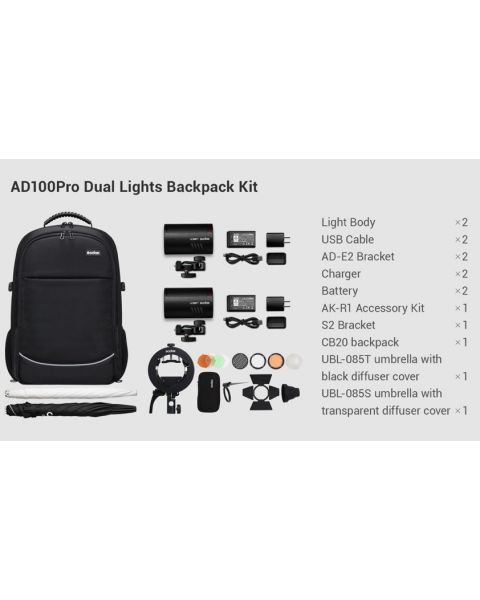 Godox AD100Pro Dual Lights Backpack kit (AD100PRO-KIT-2)