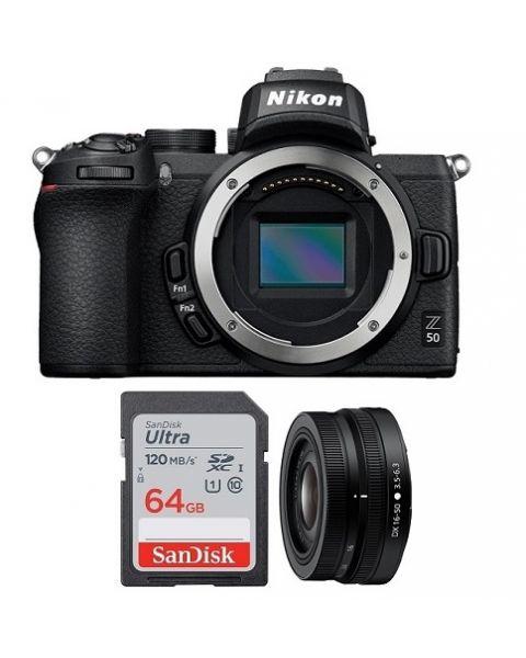 نيكون Z50 كاميرا + عدسة 16-50 نيكون + بطاقة ذاكرة 64 جيجابايت (VOA050CM)