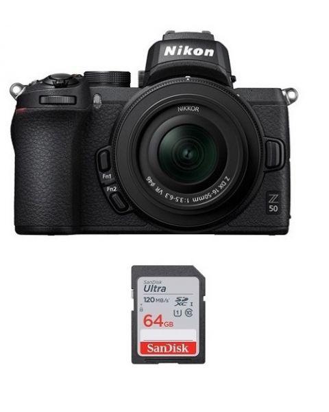 نيكون كاميرا Z50 مع عدسة 50-16 (VOK050NM) + بطاقة ذاكرة 64 جيجابايت + بطاقة عضوية نيكون
