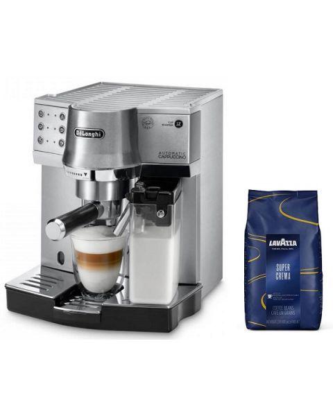 ديلونجي EC860.M ماكينة الاسبريسو المتميزة  مصنوعة من الستانلس ستيل + حبوب القهوة لافازا سوبر كريم 1 كيلو (DLEC860.M)