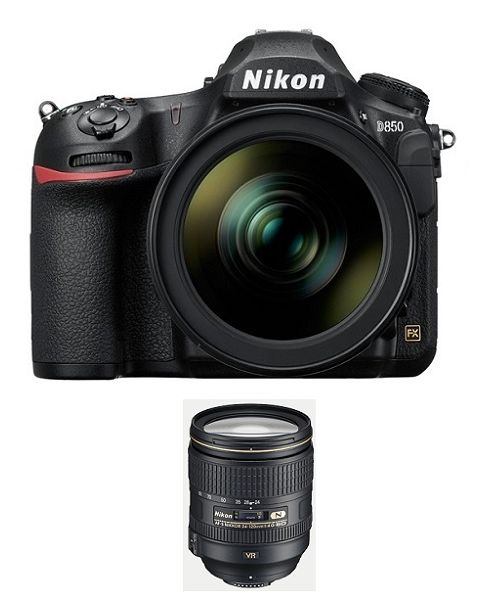 NIKON D850 BODY ONLY, FULL FRAME DSLR, 45.7 MP (VBA520AM) + Memory Card 64GB + NIKON AF-S 24-120mm f/4G ED VR Lens + NPM Card