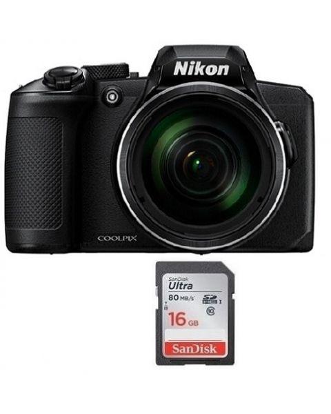 Nikon Coolpix B600 16 MP 60X Optical Zoom Full HD WIFI Digital Camera Black  (VQA090MA) + Memory Crad 16 GB
