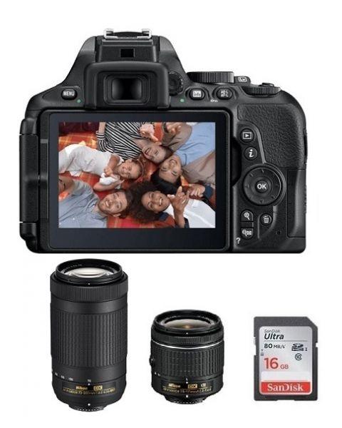نيكونD5600 كاميرا + بطاقة 16 جيجابايت + عدسة 18-55 مم + عدسة 70-300 مم (VBA500CM)