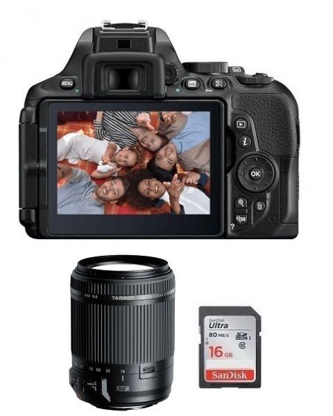 نيكون  D5600 كاميرا + بطاقة 16 جيجابايت + عدسة 18ـ200 مم (VBA500CM)