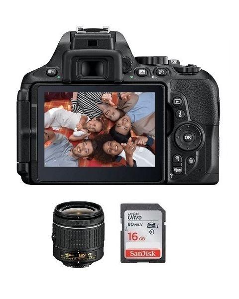 Nikon Camera D5600 Body + 16GB SD Card +  Nikon AF-P DX NIKKOR 18-55MM Lens (VBA500CM)