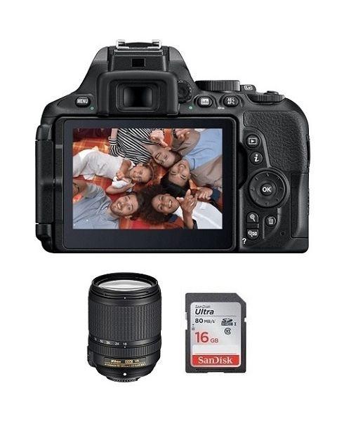 نيكونD5600  كاميرا + بطاقة 16 جيجابايت + عدسة 18-140 مم (VBA500CM)