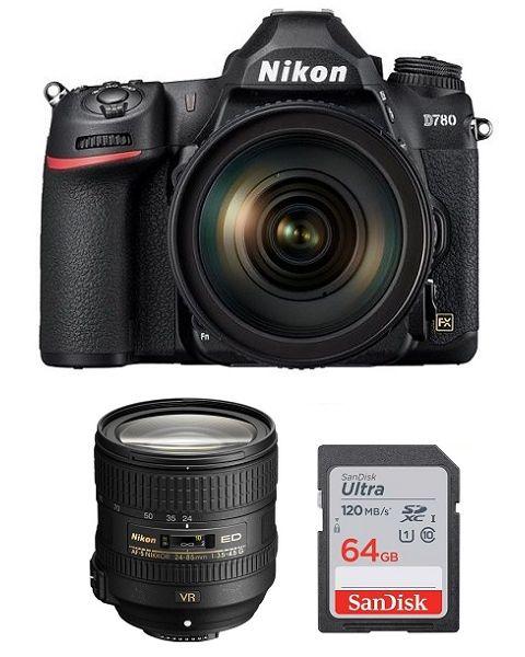 Nikon D780 Camera Body Only (VBA560AM) + Memory Card 64GB + NIKON AF-S 24-85mm f/3.5-4.5G VR Lens