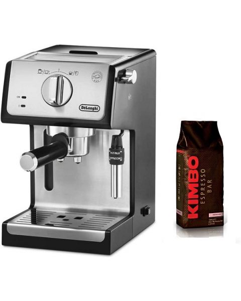 Delonghi Espresso Maker stainless steel boiler, Transparent and removable water reservoir (DLECP35.31) + Kimbo Prestige Coffee Beans 1kg