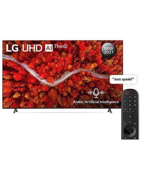 تلفزيون UHD من إل جي بدقة 4K مقاس 86 بوصة من السلسلة 80، معالج a7 من الجيل الرابع يعمل بالذكاء الاصطناعي 4K، HDR السينمائي، Dolbty Atmos، شاشة السينما، الريموت السحري والذكاء الاصطناعي بالعربية (86UP8050PVB)