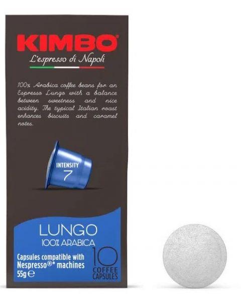 Kimbo Lungo 100% Arabica - Nespresso compatible capsules, 10 caps (K-LIUNGO8002200145187)