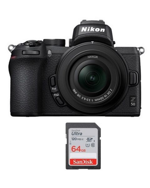 Nikon Z50 with 16-50mm VR Kit (VOK050NM) + 64gb Memory Card + NPM Card