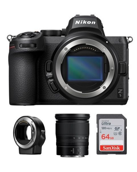 Nikon Z5 Body Only, Full Frame Mirrorless Camera (VOA040AM) + FTZ Mount + Memory Card 64GB +  Nikon Z 24-70mm f/4 S Lens