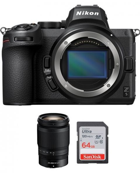 Nikon Z5 Body Only, Full Frame Mirrorless Camera (VOA040AM) + Nikkor Z 24-200mm f/4-6.3 VR Lens + Memory Card 64 GB