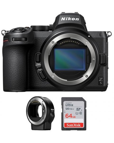 Nikon Z5 Body Only, Full Frame Mirrorless Camera (VOA040AM) + FTZ Mount + Memory Card 64 GB