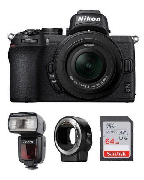 نيكون كاميرا Z50 مع عدسة 50-16 (VOK050NM) + محول عدسات + فلاش TT685N جودوكس + بطاقة ذاكرة 64 جيجابايت + بطاقة عضوية نيكون