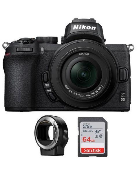 نيكون كاميرا Z 50 مع عدسة 50-16 (VOK050NM)  + بطاقة ذاكرة 64 جيجابايت + FTZ محول عدسات + بطاقة عضوية نيكون للعملاء المميزين