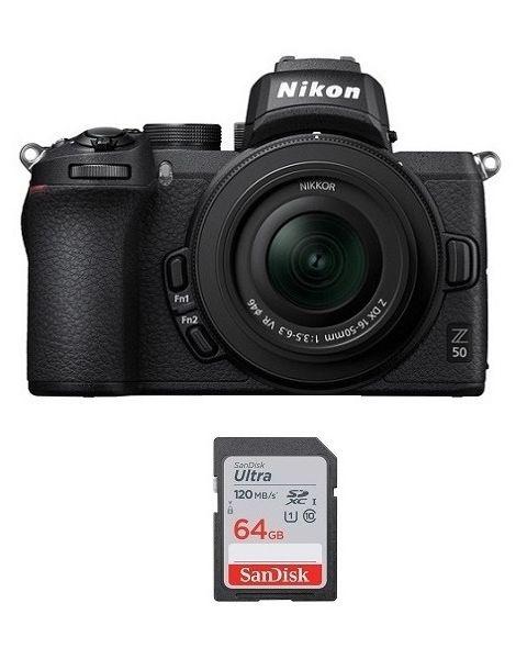 Nikon Z50 with 16-50mm VR Kit + 64gb Memory Card + NPM Card (VOK050NM)