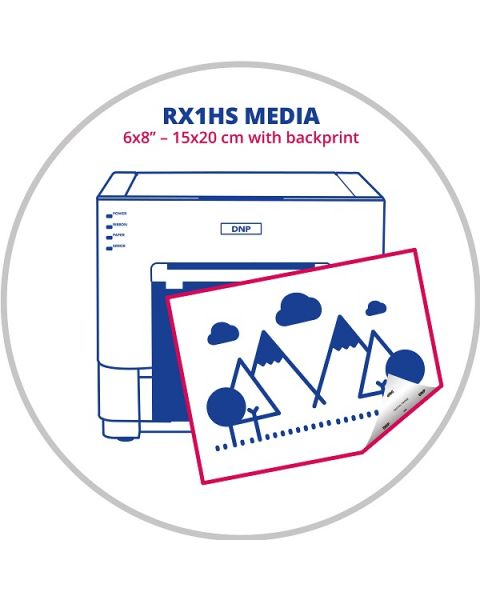 """DNP 6x8"""" (15x20cm) Media with backprint for RX1HS Printer (RX1-P6)"""