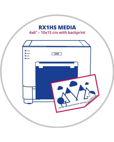 """DNP 4x6"""" (10x15cm) Media with backprint for RX1HS Printer (RX1-P4)"""
