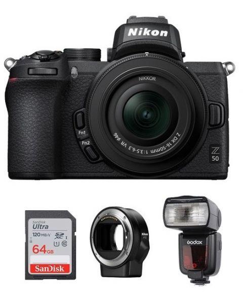 نيكون كاميرا Z 50 مع عدسة 50-16 (VOK050NM)  + بطاقة ذاكرة 64 جيجابايت + FTZ محول عدسات + جودوكس TT685N فلاش +  بطاقة عضوية نيكون للعملاء المميزين