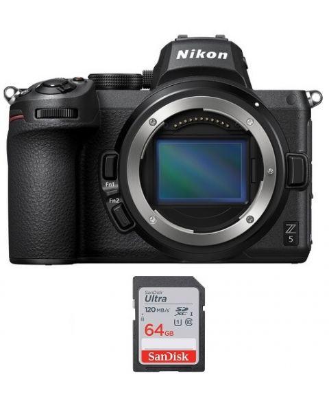 كاميرا نيكون Z5 بدون مرآة (VOA040AM) + بطاقة ذاكرة 64 جيجابايت