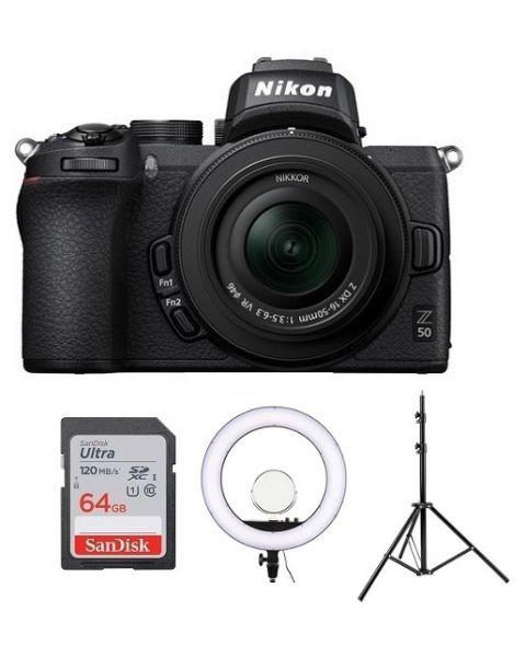 Nikon Z50 with 16-50mm VR Kit (VOK050NM) + Godox Ring Flash + Light Stand + 64gb Memory Card + NPM Card