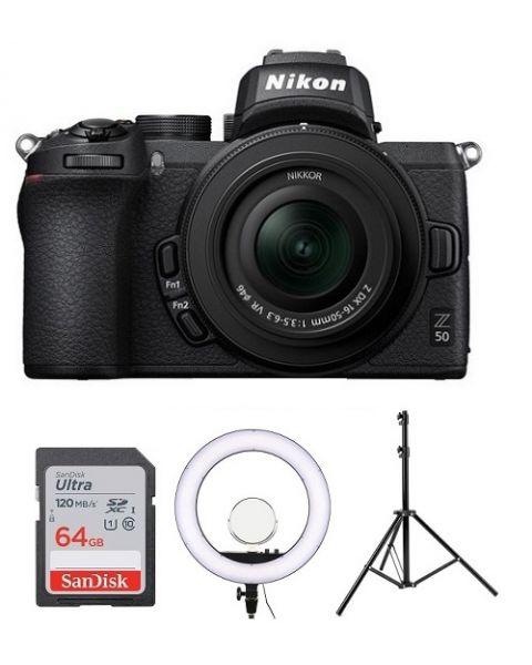 نيكون كاميرا Z50 مع عدسة 50-16 (VOK050NM) + بطاقة ذاكرة 64 جيجابايت + اضاءة دائرية + ستاند + بطاقة عضوية نيكون