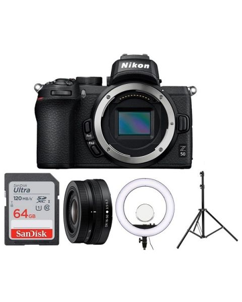نيكون Z50 كاميرا + عدسة 16-50 نيكون + اضاءه دائرية + ستاند + بطاقة ذاكرة 16 جيجابايت (VOA050CM)