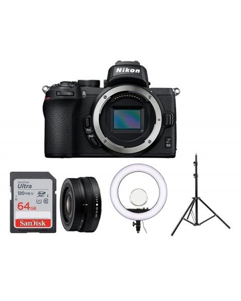 nikon-z50-with ring flash and stand