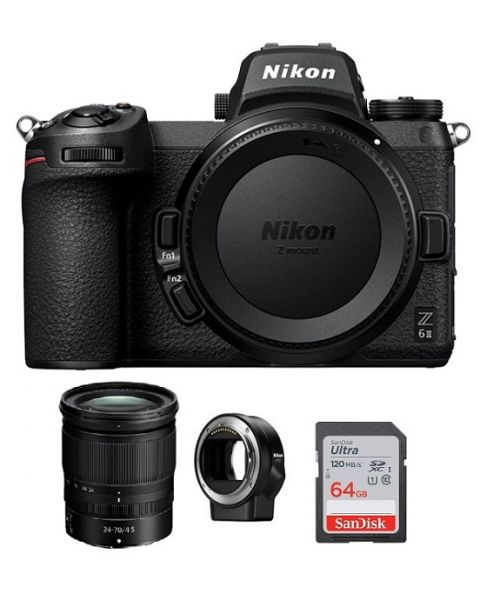 NIKON Z6 II Mirrorless  Body Only + 24-70 Lens + FTZ Mount + Memory Card 64GB (VOA060AM)