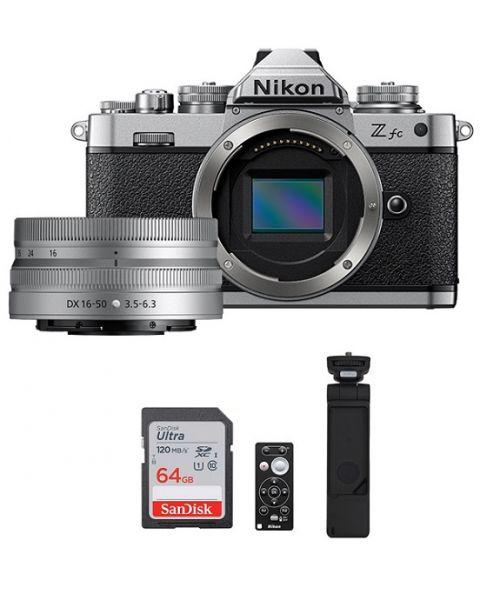 كاميرا  نيكون  Z fc مع عدسة 16-50مم (VOK090XM) Nikon Z fc Mirrorless Camera Black 16-50mm Kit + ML-7 Remote Control + SmallRig Grip + 64 gb Memory Card (VOK090XM)
