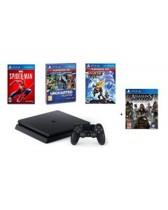 Sony PlayStation 4 Slim 500GB + 3 Games (500GBF/RC-MS-US-90) + Free Assassin's Creed Game