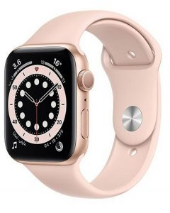 Apple Watch Series 6 GPS, 44mm Gold Aluminium Case with Pink Sport Band (M00E3AE/A-S)
