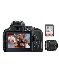 Nikon Camera D5600 Body + 16GB SD Card +  Nikon AF-P DX NIKKOR 18-55MM Lens (VBA500CM)