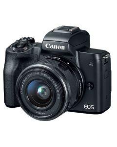 كاميرا كانون (EOSM50-BK) بدون مرآة مع عدسة   15-45 MM أسود+ بطاقة ذاكرة 16 جيجابايت