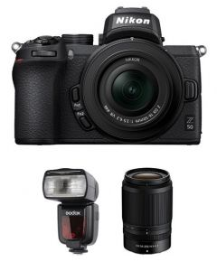 Nikon Z50 with 16-50mm VR Kit (VOK050NM) + NIKKOR Z DX 50-250mm f/4.5-6.3 VR Lens + GODOX FLASH TT685N + NPM Card