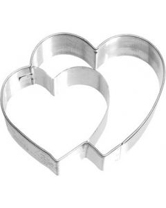 Birkmann Cookie Cutter Double Heart Stainless steel with internal detailing, 6.5 cm (190719)
