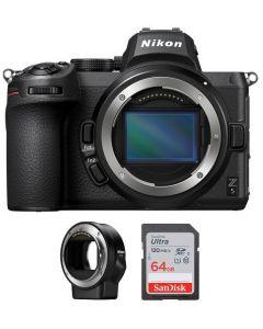Nikon Z5 Body Only, Full Frame Mirrorless Camera (VOA040AM) + FTZ Mount + Memory Card 64 GB