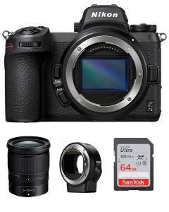 نيكون Z7ii كاميرا + بطاقة ذاكرة 64 جيجابايت +  محول عدسات FTZ + عدسة نيكون 24-70مم (VOA070AM)
