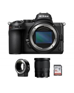 Nikon Z5 Body Only, Full Frame Mirrorless Camera (VOA040AM) + FTZ Mount + Memory Card 16 GB +  Nikon Z 24-70mm f/4 S Lens