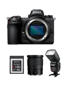 Nikon Z6 Mirrorless Digital Camera  (4K UHD) -Body Only (VOA020AM) + V860 GODOX Flash + Memory Card 64GB + NPM Card + Nikon Z 24-70mm f/4 S Lens