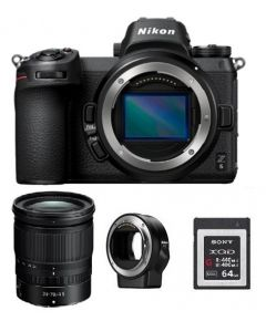 Nikon Z6 Mirrorless Digital Camera Body Only (VOA020AM) + Nikon Z 24-70mm f/4 S Lens + FTZ Adapter + Memory Card 64GB