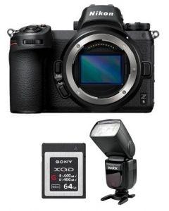 Nikon Z6 Mirrorless Digital Camera  (4K UHD) -Body Only (VOA020AM) + V860 GODOX Flash + Memory Card 64GB + NPM Card