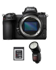 Nikon Z7 Full Frame  Mirrorless  Body (VOA010AM) + GODOX FLASH V1N + Memory Card 64GB