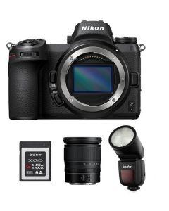 كاميرا نيكون Z7 بدون مرأة + فلاش جودوكس + بطاقة ذاكره 64 جيجابايت + عدسة نيكون 24 - 70  (VOA010AM)