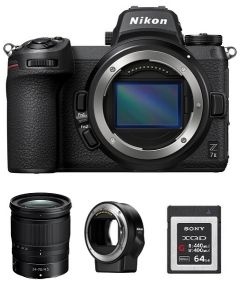 Nikon Z7ii Camera Body Only + Nikon 24-70mm f/4 S Lens + Memory Card 64GB + FTZ Mount (VOA070AM)