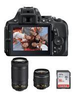 Nikon Camera D5600 Body + 16GB SD Card +  Nikon AF-P DX NIKKOR 18-55MM Lens + Nikon AF-P DX NIKKOR 70-300mm Lens (VBA500CM)