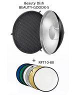 Godox BDR-S420 Beauty Dish 420mm Silver Bounce + Godox Reflector 7in1 (BEAUTY-GODOX-S)