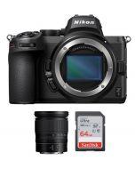 Nikon Z5 Body Only, Full Frame Mirrorless Camera (VOA040AM) + Memory Card 64GB + Nikon Z 24-70mm f/4 S Lens